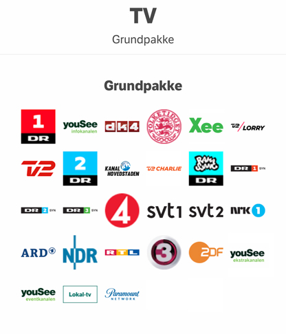 Tv kanaler Grundpakke